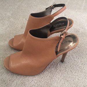 Coach peep toe heeled booties